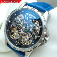 Mens Double Flywheel Automatic Mechanical Watch Silver Chrome Blue Deployant