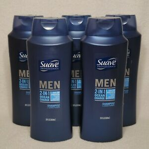 LOT (5) Suave Men 2 IN 1 Ocean Charge Shampoo + Conditioner 28 fl oz each