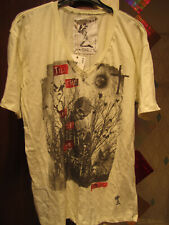 RELIGION, COOL PALE YELLOW MEN'S T-SHIRT V-NECK 'SKULLS' NEW WITH TAGS XXL