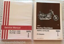 Harley NOS FX FXE Parts Manual Catalog & Service Manual 1971-1980 Combo