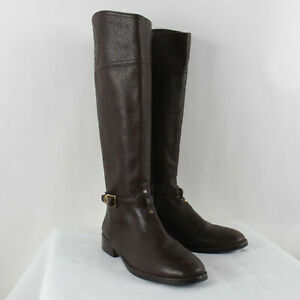 Tory Burch Black Tumbled Leather Marlene Riding Boots Size 9M