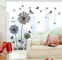 Dandelion Flowers and Butterflies Dancing In The Wind Wall Decal Mural Sticker