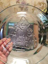 """New Vtg ANCHOR 12"""" glass Christmas Tree serving platter Cupcake Cake Plate"""