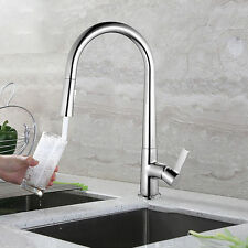 Spring Single Handle Pull down Kitchen Faucet Pull Out with sprayer chrome Brass