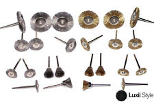 24pc Mini Wire  Brush Brass Stainless Steel Wheel Cup & End Brushes Remove Rust