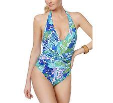 Lauren Ralph Lauren Womens Blue Floral Print One-Piece Swimsuit Size 10 $106 NWT