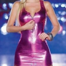 Sexy Rose Métal liquide Robe Style Zipper Front clubbing party