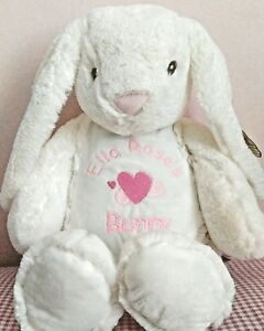 Personalised Bunny rabbit teddy.embroidered with name baby gift. keepsake