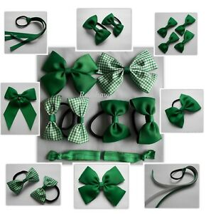 Green Back to School bows Bobbles Clips Elastics Sets- plain Gingham checked