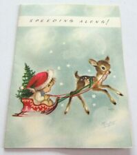 Vintage Christmas Card Marjorie Cooper Pixie on Sleigh with Deer Speeding Along