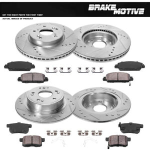 Front+Rear Brake Rotors And Ceramic Pads For 2013 2014 2015 - 2017 Honda Accord