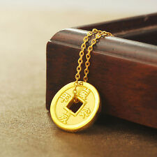 1PCS Authentic 24k Yellow Gold Pendant/ Craved Bless Lucky Coin Pendant/ 1.58g