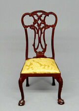 Vintage Bespaq Chippendale Chair With Satin Seat Dollhouse Miniature 1:12