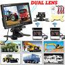"2 x Reversing Camera + 7"" Dual Lens LCD Monitor Car Rear View Kit For Bus Truck"