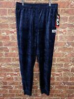 New Fila sz M L XL Blue Navy Velour Pants Track Sweatpants Ankle Cuf