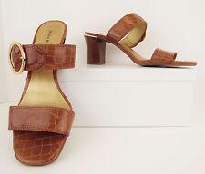 Dana Buchman Evia Tan Brown Gold Buckle Open Toe Sandals Heels Shoes 10M (S453)