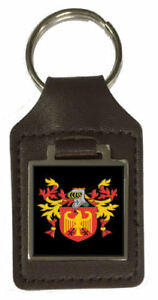 Mccurdy Family Crest Surname Coat Of Arms Brown Leather Keyring Engraved