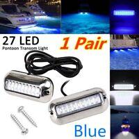 2X 50W Stainless Steel 27 LED Underwater Pontoon Marine Boat Transom Lights Blue