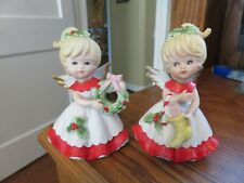 Vintage Homco Set of 2 Christmas Angels Porcelain Figurines
