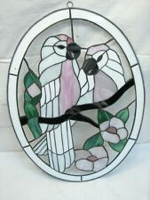 Stained Glass Pink Parrot Hanging Picture Window Oval Bird Flower