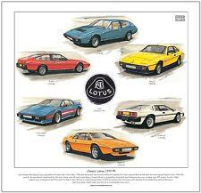 CLASSIC LOTUS 1975-93 - FINE ART PRINT-Elite Eclat da Turbo Esprit Esprit EXCEL +