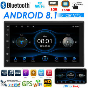 7 Inch Car Audio Stereo Radio 2DIN GPS Wifi QUAD-Core Android8.1 Navi MP5 Player