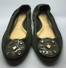 LOFT Green Suede Leather Embellished Studded Soft Sole Ballet Flats Sz 8M NEW!