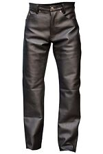 Men's Black Button Fly Thick Genuine Leather Pant 05 Pockets Jeans New Size 40