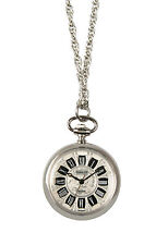 Pendant Watch with Chain #9087S Avalon Women's Antique Style Silver-Tone