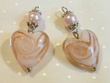 PACK OF 2 PENDANTS - PINK LAMPWORK HEARTS WITH PINK PEARLS - 40mm........P1137 *