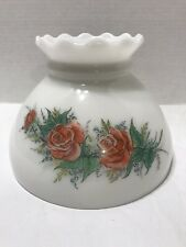 """Vintage Oil Hurricane Lamp Shade 8"""" White Glass Red Roses Floral Flowers"""