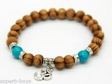 Om Wooden Beads Bracelet - 8mm Beaded Wood Beads - New OM Yoga Symbol Jewellery