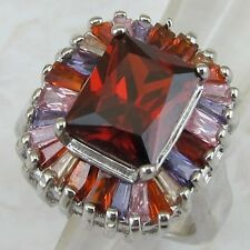 Size 7 Colorful Super Hot Garnet Red Radiant Gems Jewelry Gold Filled Ring K1702