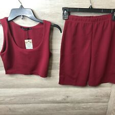 Boohoo Womens Size Small/Medium Burgundy Red Cycling Short Co-ord Set