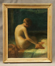 Beautiful Nude Lady in Landscape Russian American Painting Early 20 Century