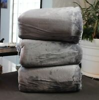 Super Warm Thick 350GSM Flannel Blanket Charcoal Grey Queen King Size 220x240cm
