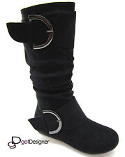 Women's Boots Slouch Comfort Flat Mid Calf Knee High Round Toe Casual Buckles