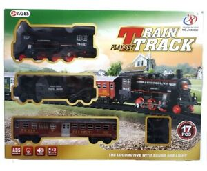Railroad Train Track light and sound Playset Toy Train Engine Battery operated