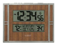 Digital Atomic Wall Clock La Crosse LCD Display with Temperature