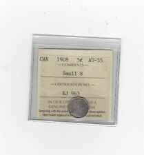 **1908, Small Date**, ICCS Graded Canadian,  5 Cent, **AU-55**