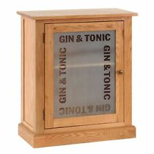 Cordell Oak Furniture Gin & Tonic Drinks Bottles Bar Display Cabinet Cupboard