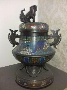 Superbe et ancien grand  brule parfum  en  bronze cloisonné   CHINOIS  .. signé