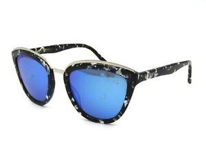 #17C DIFF Eyewear ROSE Cat Eye Sunglasses, Black Marble / Blue Mirror Polarized
