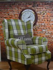 Wing Back Queen Anne Cottage Chair Lime Green & Cream Aldernay Check Tartan