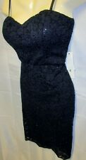 NWT love reign dress L Black Sequin Lace Bodycon Sexy Sheer Wiggle Stretch