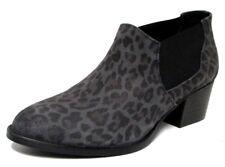 LOW BOOTS SANTIAGS 37 cuir daim gris léopard à enfiler talon TEXTO femme NEUF