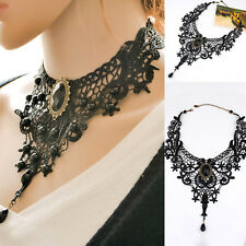 Vintage Black Lace&Beads Choker Steampunk Style .Gothic Collar Necklace_A