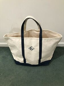 Vintage LL BEAN Canvas Boat And Tote Bag Size XL Blue Handles Made In USA Maine