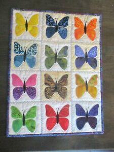 """Hand Made Art Quilt / Wall Hanging   """"Butterflies """" ~13.5"""" x 18"""" ~ Batiks"""