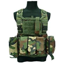 DLP Tactical RRV Chest Rig MOLLE Vest in Woodland with four pouches
